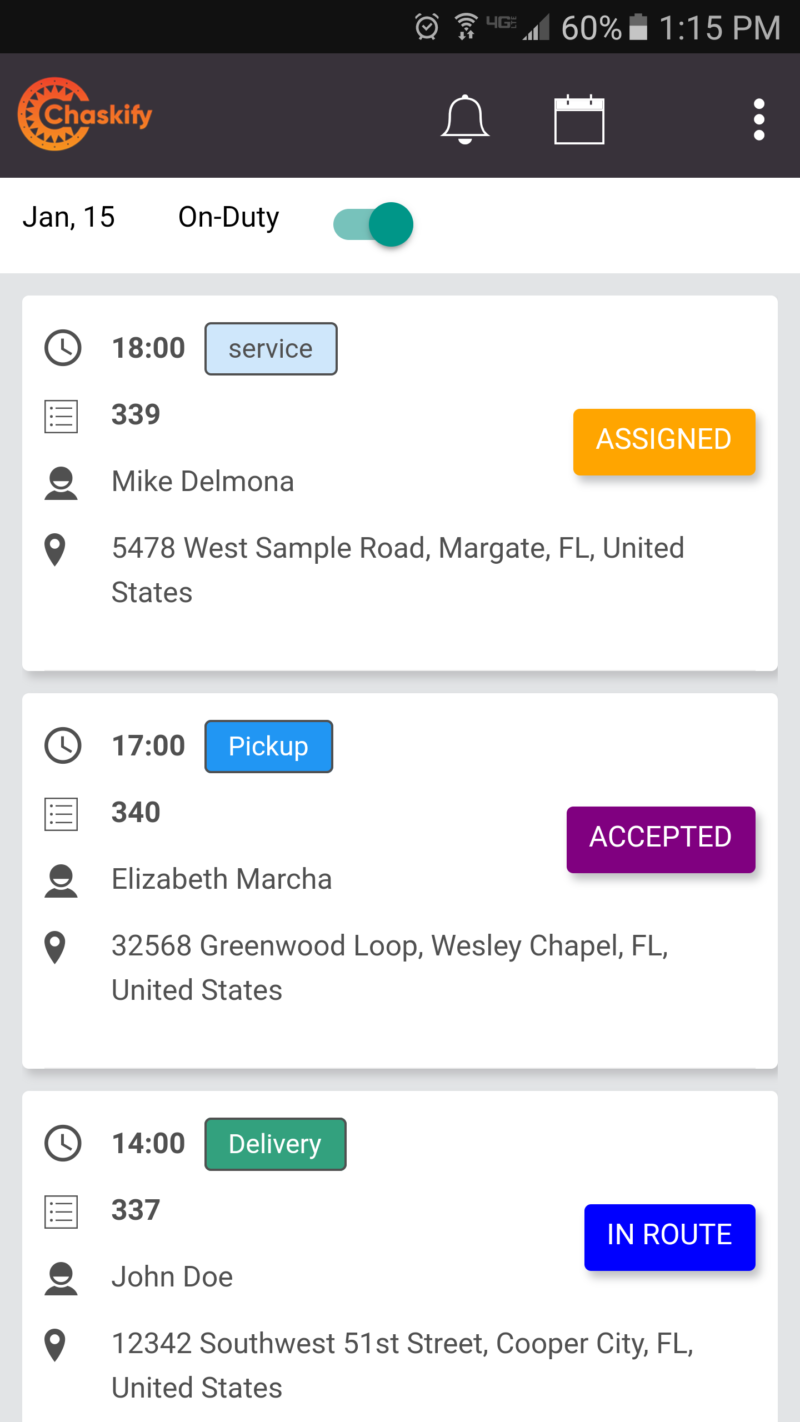 Sample Chaskify Driver App Task List